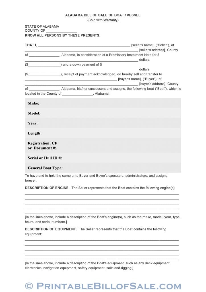 Free Alabama Bill Of Sale Of Boat  Vessel Form  Download Pdf