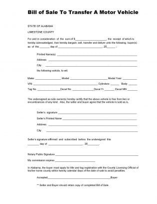 Free Limestone County Alabama Vehicle Bill Of Sale Form | Download