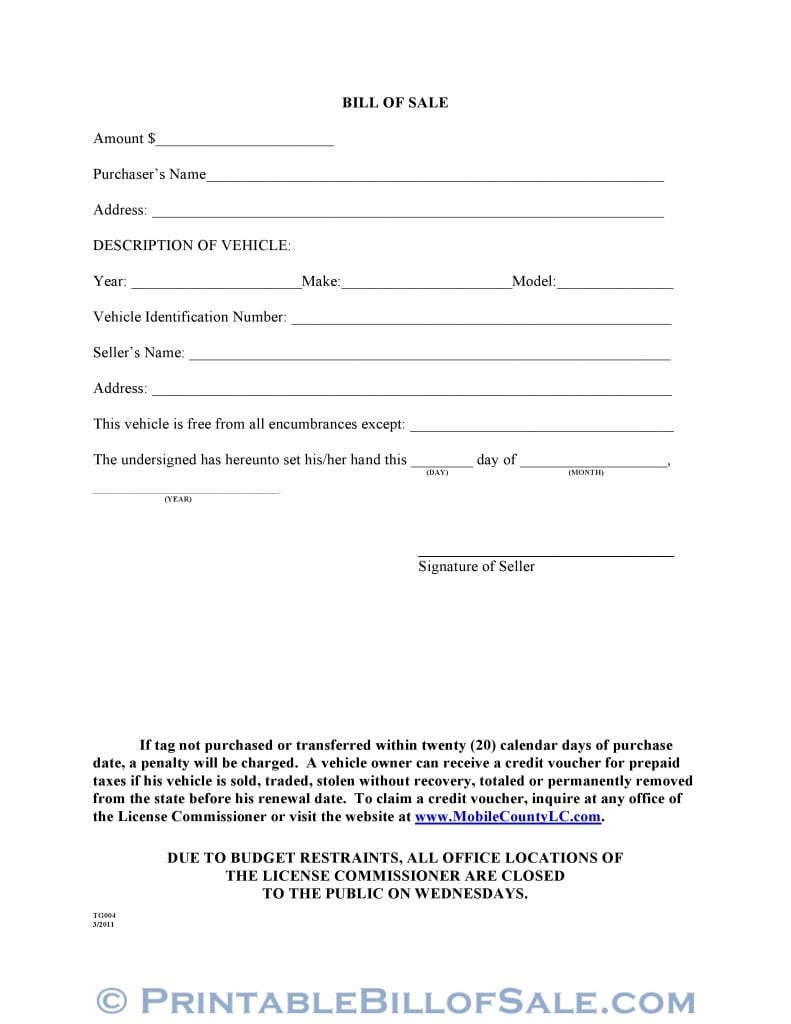 Free Mobile County Alabama Motor Vehicle Bill of Sale Form TG004 ...