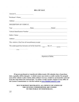 Free Mobile County Alabama Motor Vehicle Bill Of Sale Form Tg