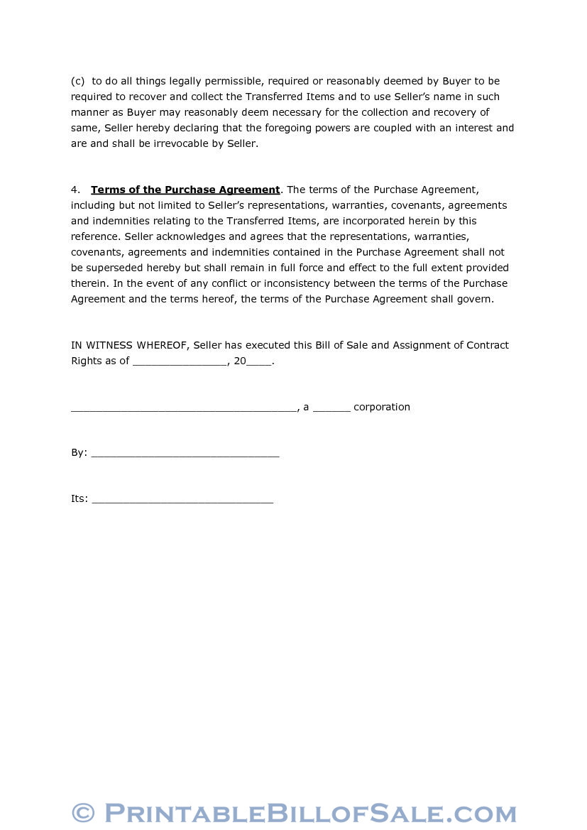 free bill of sale and assignment of contract rights download pdf