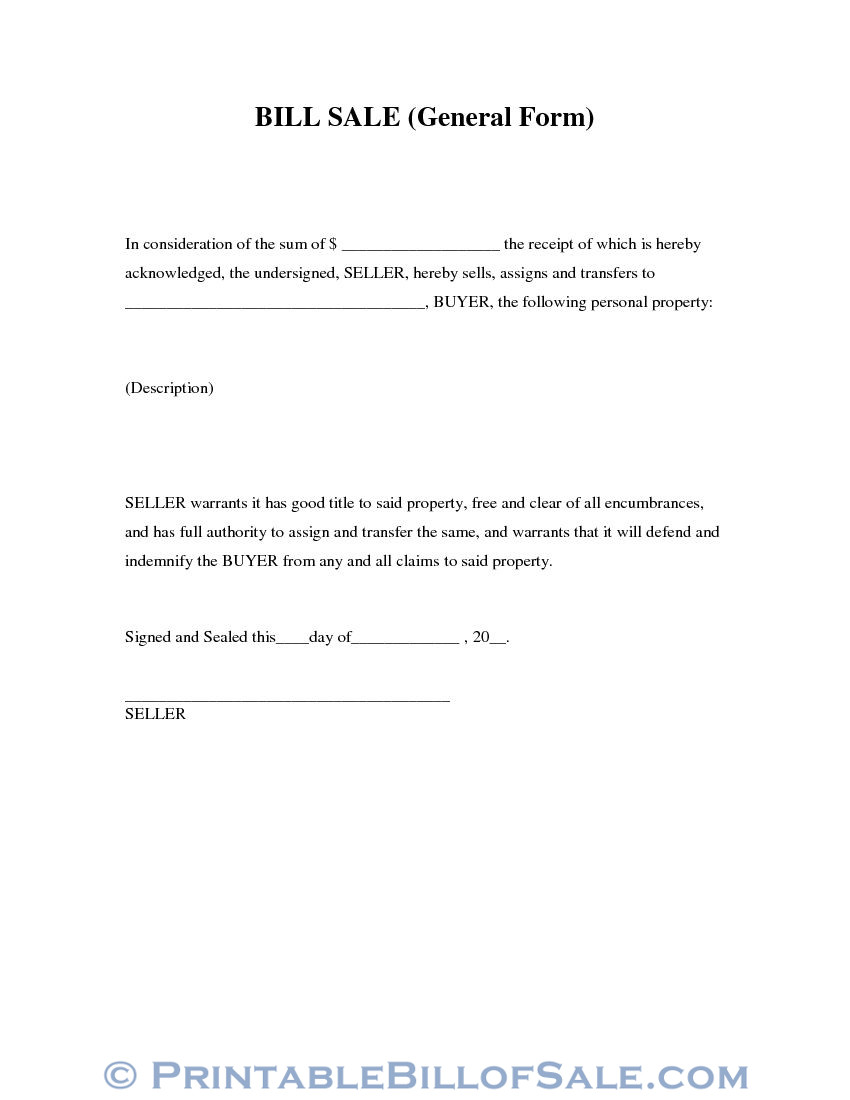 photo regarding Generic Bill of Sale Printable named Absolutely free Overall Invoice of Sale Type Obtain PDF Term Template