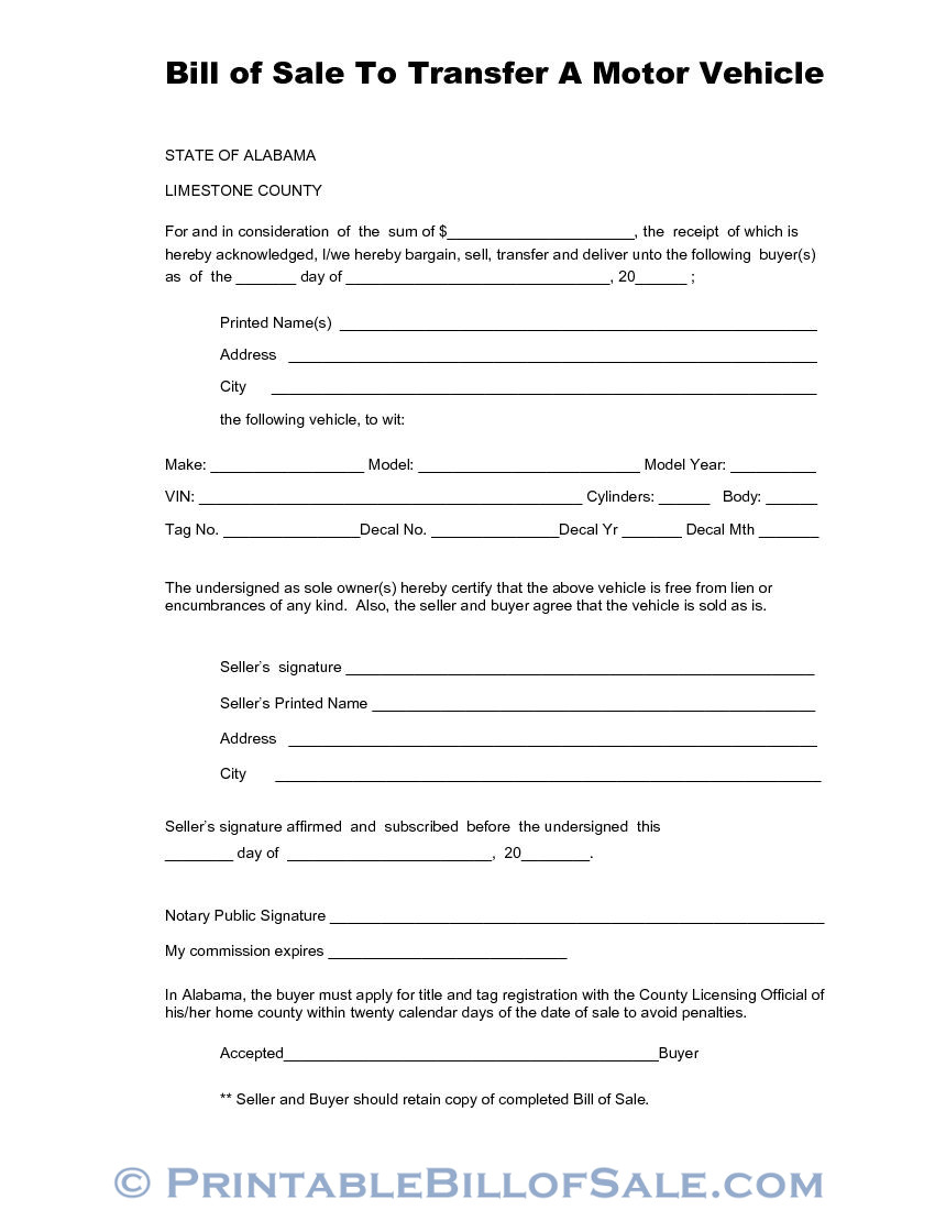 Free Limestone County Alabama Vehicle Bill of Sale Form ...