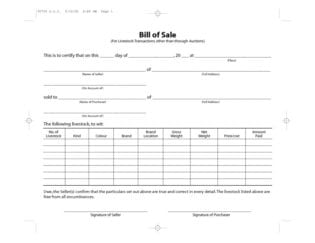 free livestock bill of sale form download pdf word template