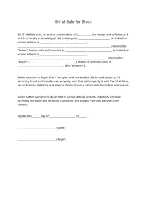 Stock Bill of Sale Form