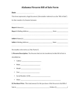 Alabama Firearm Bill of Sale Form